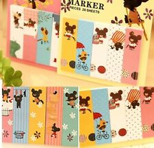 FD1034 Sticky Marker Diary Note Book Bear Stationery Memo Notepad ~Random~ 1pc