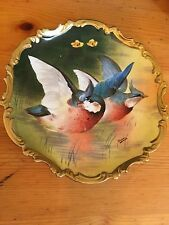 LIMOGES France GAME BIRDS CHARGER PLATE Hand-Painted ARTIST SIGNED FRANCE PLAQUE