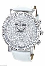 NEW-PEUGEOT WHITE PATENT CROC LEATHER+PAVE CRYSTAL COVERED SILVER WATCH J6369SWT