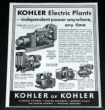1956 OLD MAGAZINE PRINT AD, KOHLER ELECTRIC POWER PLANTS, ANYWHERE - ANYTIME!