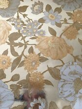 Gorgeous Vtg 60s Mid Century Metallic Silver Foil Large Floral Wallpaper Roll
