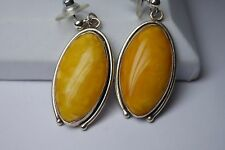 VINTAGE LARGE  NATURAL EGG YOLK BALTIC AMBER LARGE DANGLE EARRINGS/ 925 STERLING