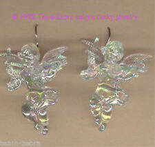 Funky CUPID CHERUB VIOLIN EARRINGS-Baby Angel Musician Charms Jewelry-IRIDESCENT