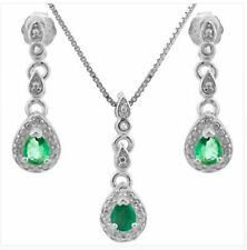 EMERALD DIAMOND SILVER NECKLACE & EARRING SET 2.5 CWT NATURAL MOTHERS DAY MAY