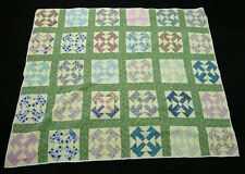 "Patchwork Mulit-Colored Green Yellow Back ""T"" Squares Machine Stitched   Quilt"
