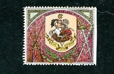 Vintage Poster Stamp Label DELANDRE NORTHUMBERLAND FUSILIERS Coat of Arms