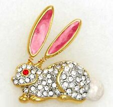 Vintage Bunny Rabbit Brooch Pin Enamel Rhinestones Trembler Ears*USA*Gift Box