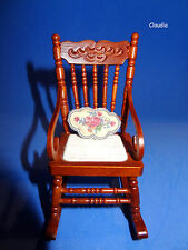 Dollhouse Miniature ROCKING CHAIR Wood w/ PINK ROSE CUSHION by REUTTER Porcelain