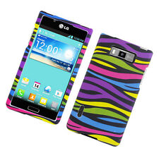 LG Optimus Showtime L86c HARD Protector Case Snap On Phone Cover Colorful Zebra