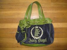 Juicy Couture Daydreamer Scottie Dog Velour Handbag Bag Tote Purse Green Gold