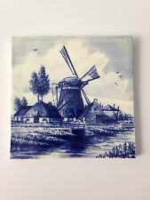 """Vintage """"Orio"""" Delfts Holland Blue Tile Windmill Made In Belgium H"""