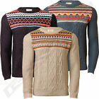 Mens Jumper Holmes & Co Knitwear Fair Isle Cable Knit Sweater Pullover Nordic