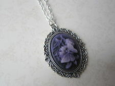 Vintage Gothic Purple & Silver Plated Butterfly Cameo Necklace New in Gift Bag