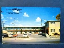 Postcard CA San Diego Bay View Travelodge 1950's Old Cars