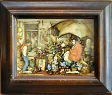 Vintage Anton Pieck Mid Century 3-D Composition Art in Old Wooden Frame