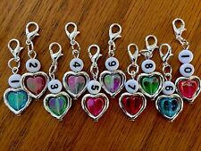 10 x   KNITTING/CROCHET Stitch Markers ~ Heart Beads Heart Frame MotherS Day ..