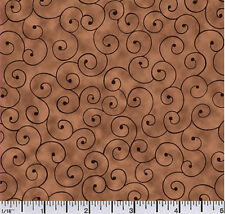Quilting fabric Tilt a Whirl Brown 100% Cotton BY THE YARD!!!