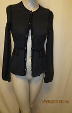 Nanette Lepore Merino Wool Blend Shapely Sparkly Cardigan Sweater Size XS