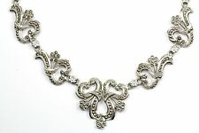 VINTAGE ORNATE FLOWER MARCASITE CLASSY NECKLACE 925 STERLING 16.25 IN NC 70