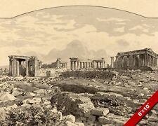THE PARTHENON ANCIENT GREEK RUINS ACROPOLIS INK PAINTING ART REAL CANVAS PRINT