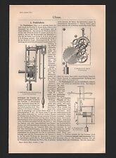UHREN, 4-seitiger Artikel 1909: Pendeluhren, Transportable und elektrische Uhren