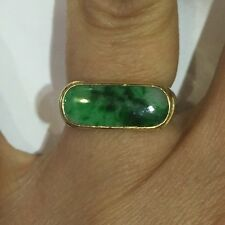 Used 18k Solid Yellow Gold Ring 5.5GM/ With Natural Long Oval Jade  Size 5.5