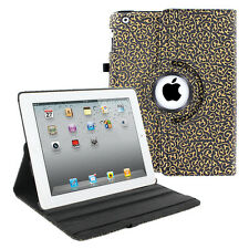 Flower Floral 360 BLACK & GOLD Leather Wake Sleep Case Cover for iPad 2 3 4