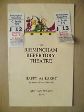 B'Ham Repertory Theatre Programme+TICKET 1956- HAPPY AS LARRY by D Macdonagh