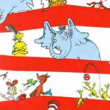 DR SEUSS CAT IN THE HAT CHARACTERS STRIPE FABRIC