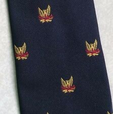GOLD CREST TIE VINTAGE RETRO CLUB ASSOCIATION SOCIETY LOGO NAVY 1980s BY MUNDAY