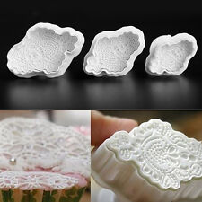 Embroidery Macrame Sugarcraft Fondant Cake Decorating Plunger Cutters Mould 3pcs