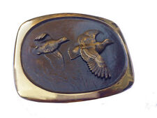 Vtg Solid Bronze Quail Belt Buckle Bird Hunting Shooting Hunter Western Wing 70s