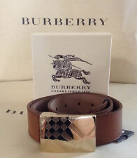 New Burberry London Leather Alan Gold Plaque Buckle Belt Sz 32/80 Dark Tan $375
