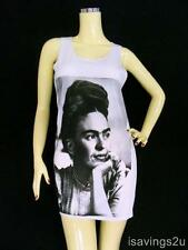 FRIDA KAHLO Tank Top, Mexican ICON Pop ART White SINGLET, Cotton T-shirt MINI