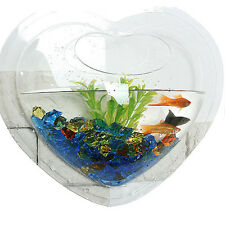 Wall Mount Hanging Betta Fish Bubble Aquarium Bowl Tank Heart Mini