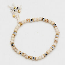 Evil Eye Beaded Bracelet Hamsa Hand Tassel CREAM GOLD Stretch Protection Jewelry