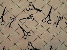 SCISSORS SEWING BLACK WHITE SEW MAT PINK COTTON FABRIC FQ
