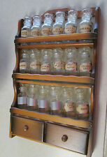 18 Vintage Glass Spice Bottles in Classic Old Wood 3 Shelf Rack w 2 Drawers GUC