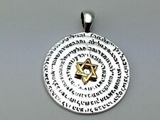 Magen David Star 72 Names of God Sterling Silver Gold Plated Pendant Necklace