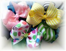 Lot BIG 12pc Boutique Hair bows 5 inch  Over 100 colors to choose from C pic