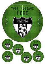 """ANY FOOTBALL TEAM CAKE TOPPER PITCH/CREST/STADIUM 7.5"""" ROUND&TOPPERS ICING SHEET"""