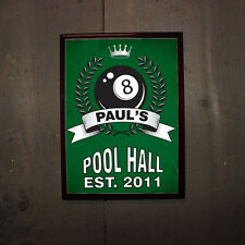 Personalized 8-Ball Pool Hall Wood Bar Pub Wall Sign Man Cave Groomsmen Gift