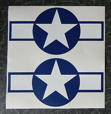 2 x USAF Roundels.  Self Adhesive. From 151mm to 300 Wide