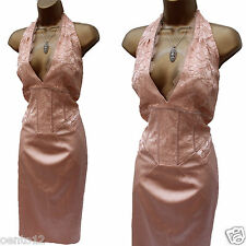 Karen Millen Peach Vintage Lace Satin Halterneck Corset Wiggle Cocktail Dress 14