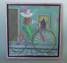 Mexican framed painting art jester on bike acrylic on paper by GERMAN RUBIO