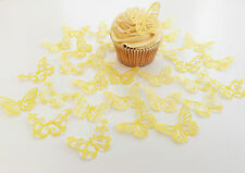 32 Edible Lemon Heaven Butterflies Pre Cut Wafer Cupcake Toppers