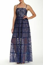 NWT Vera Wang Navy Blue Sheer Floral Lace Satin Striped Gown Dress 8 $295