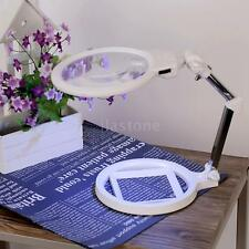2x/6x Magnifying Desk Magnifier LED Light Glass Lens With Scale Foldable W8R7