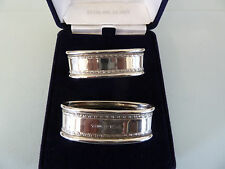 BOXED Pair of Modern Solid SILVER Napkin RINGS, 1997. Ari Norman. NOT ENGRAVED
