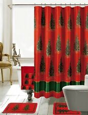 Season's Greetings 18 Piece Shower curtain Set Christmas Trees